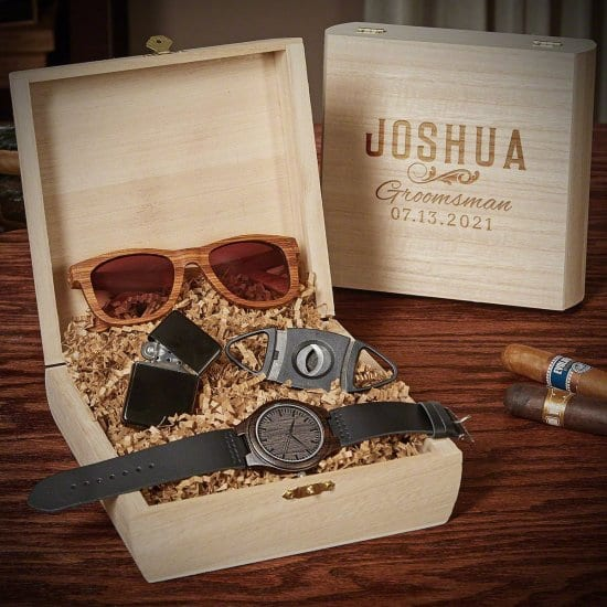 Custom Groomsmen Gift Box with Watch Sunglasses and Cigar Cutter