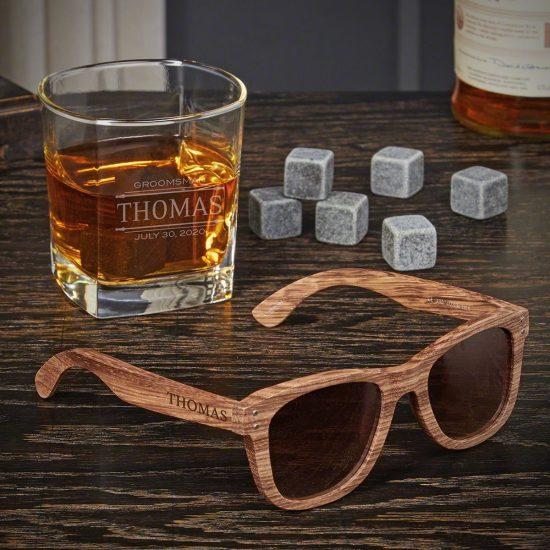 Personalized Bamboo Sunglasses and Rocks Glass Set