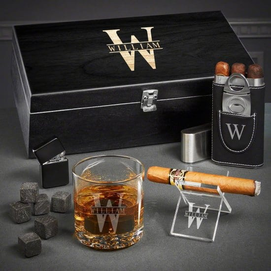 Engraved Cigar and Whiskey Gift Set for 40th Birthday