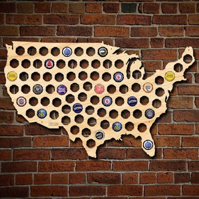 USA bottle cap map best man present