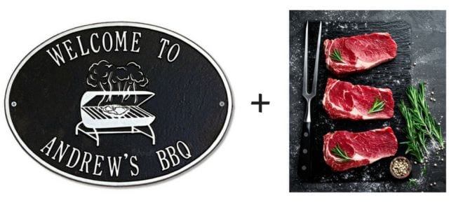 Custom Signs and Steaks 40th Birthday Gift for Men