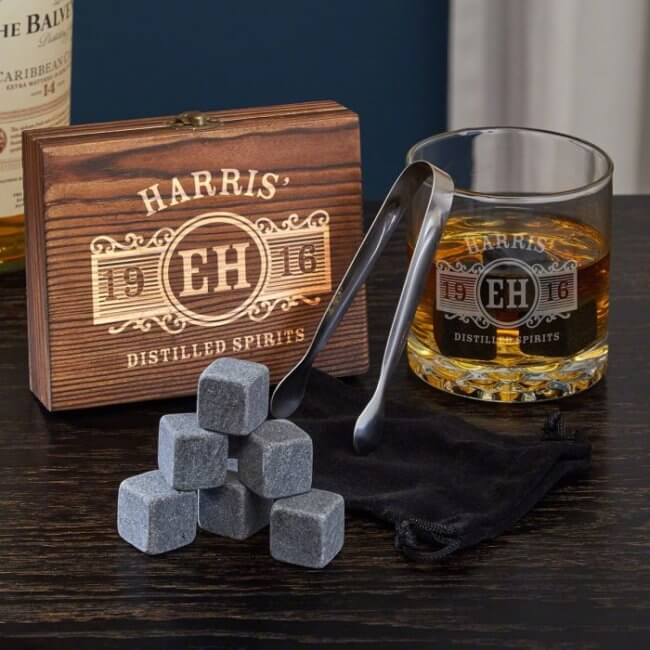 whiskey stones with gift box best man