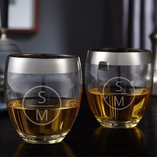 Silver Rimmed Cognac Glasses