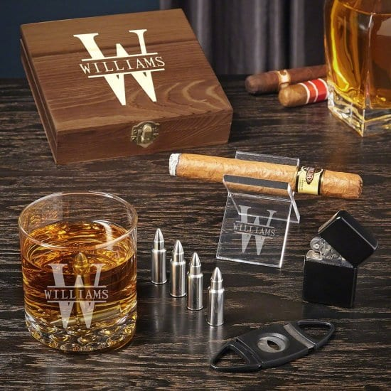 Engraved Bullet Whiskey Stone and Cigar Set of Best Gifts for Boyfriend