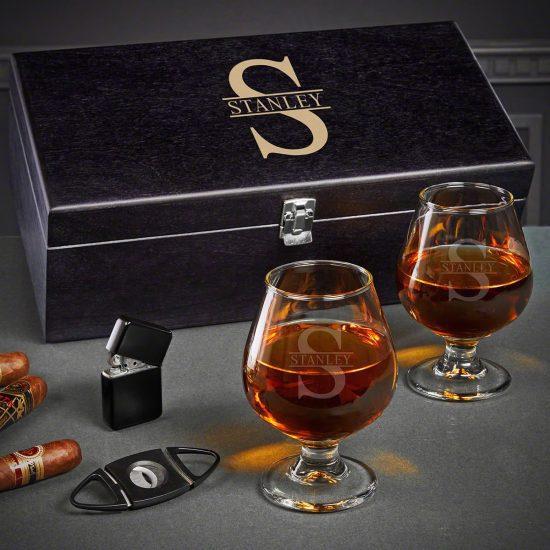 Luxury Custom Black Box Set of Cognac Glasses