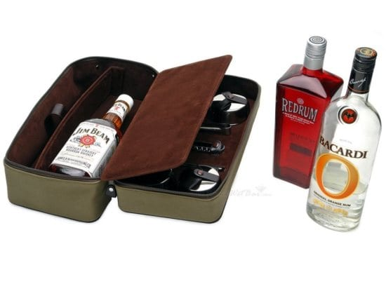 Leather travel bag for the cocktail making father