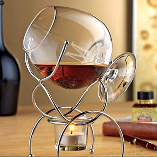 Large Snifter Cognac Glass with Warmer
