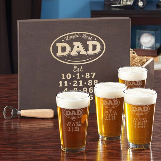 Engraved Pint Glass and Wooden Box Set Best Gifts for Dad in 2018