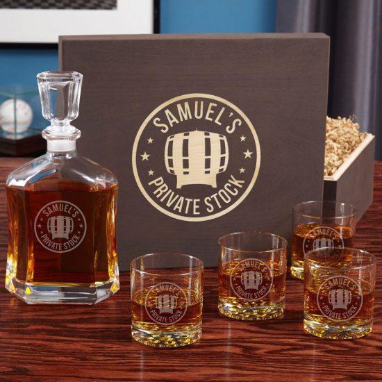 Whiskey Decanter and Rocks Glasses Gift Set for Guys