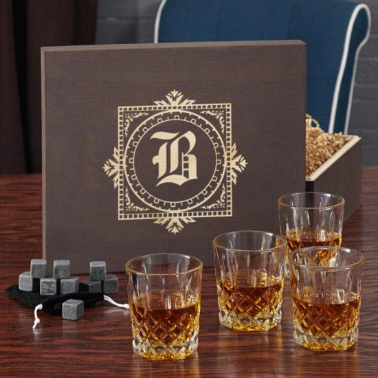 Whiskey Stones and Glasses Wooden Box Gift Set for Dad