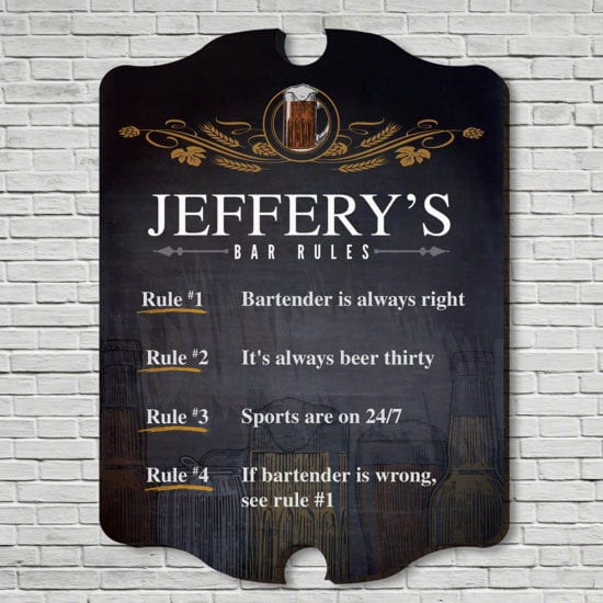 Bar Rules Personalized Wooden Sign Gift idea