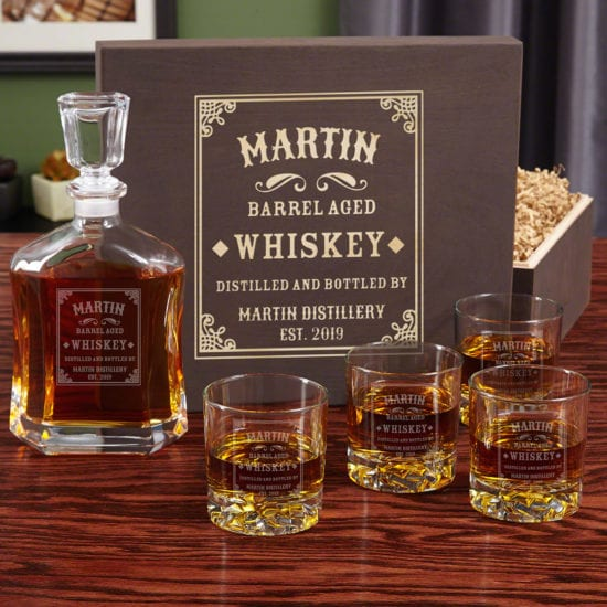 Personalized Whiskey Decanter and Glass Box Set