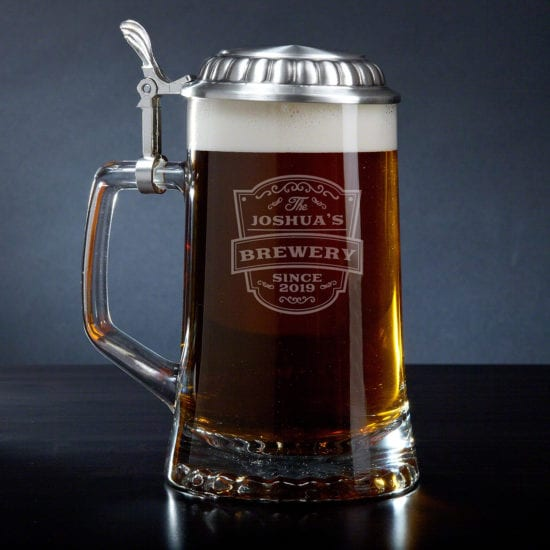 Engraved Vintage Glass Beer Stein for Guys