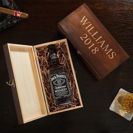 Custom Engraved Liquor Bottle Box for Dad