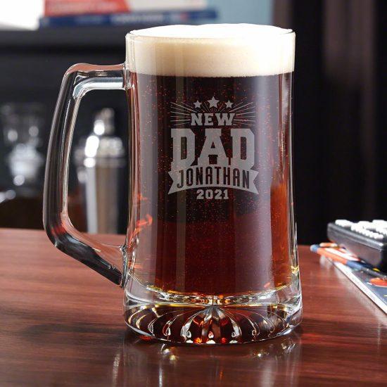 Engraved Rockstar Beer Mug New Dad Gift