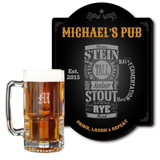 Custom Bar Sign and Giant Glass Beer Mug Set Fathers Day Gift