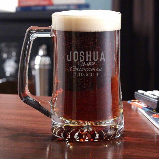 Etched Glass Beer Mug Gift Idea for Groomsmen