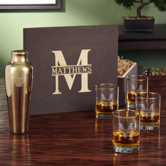 Gold Rimmed Whiskey Glass and Shaker Box Set for Him