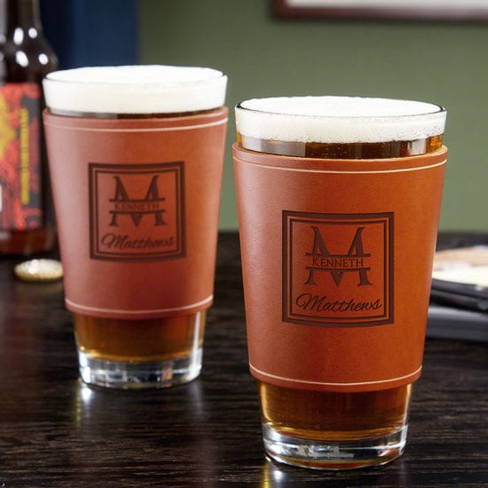 Engraved Leather Pint Glass Gift Set for Men