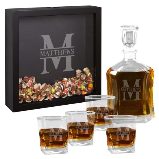 Cigar Band Shadow Box and Whiskey Decanter Glass Best Man Gift Set