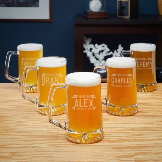 5 Etched Beer Mugs – For the Beer Loving Wedding Party