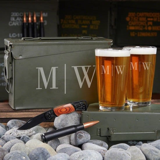 Engraved Ammo Can with Pint Glasses
