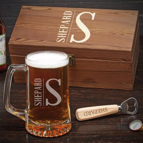 Personalized Beer Mug, Bottle Opener, and Box