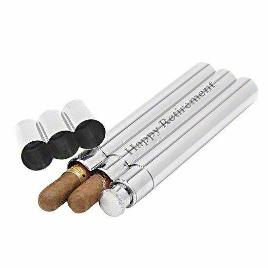 Engraved Flask and Cigar Holder