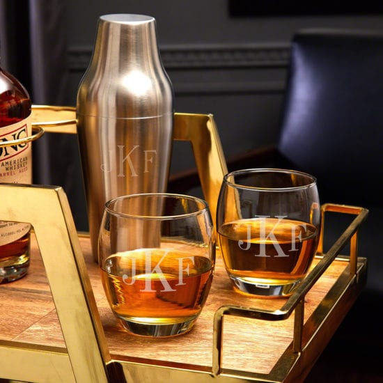 Monogrammed Cocktail Shaker Set