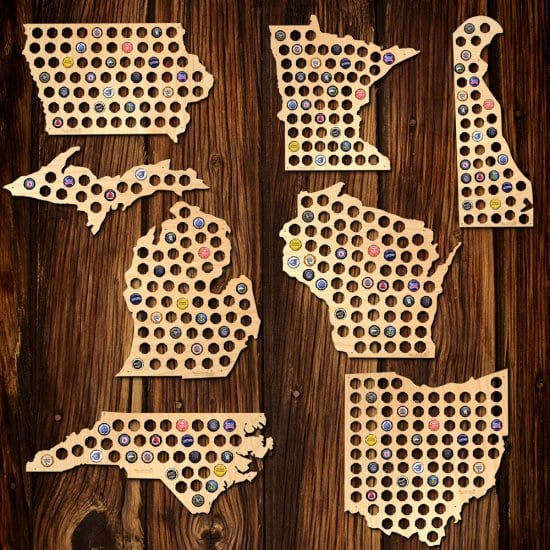 3 Beer Cap State Maps