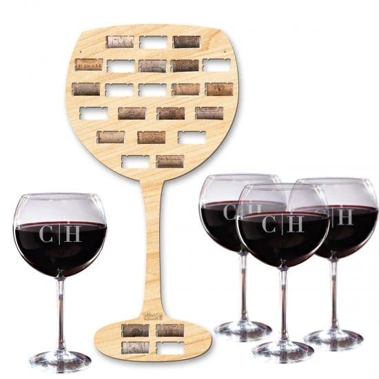 Personalized Wine Glasses & Cork Holder – A 30th Birthday Gift for Wine Lovers