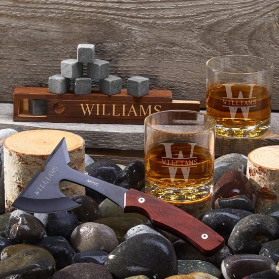 Engraved Axe with Whiskey Glasses & Stones