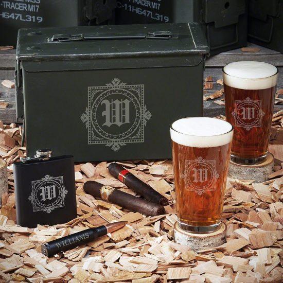 Custom 50 Caliber Ammo Box with Pint Glasses & Flask