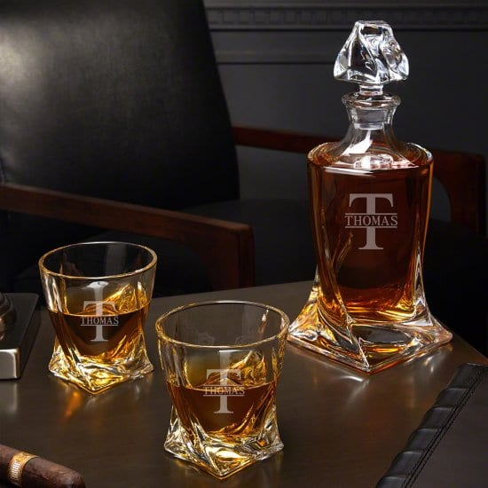 Engraved Twist Decanter and Whiskey Glasses