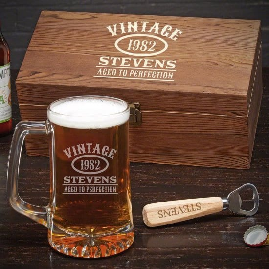 Engraved Box and Beer Mug for Dads