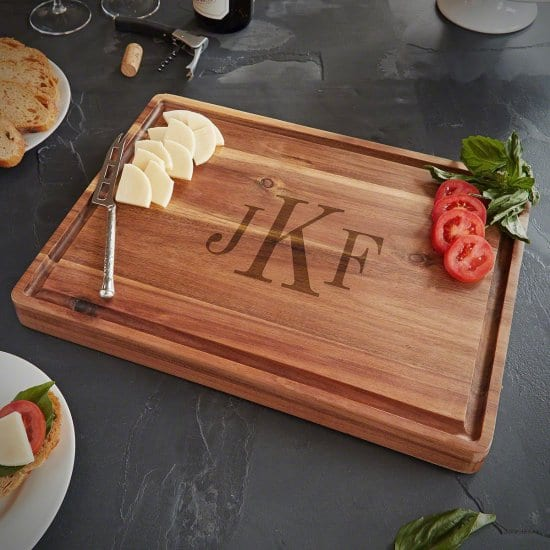 Monogrammed Butcher Block is a Gift for Dad Who Doesnt Want Anything