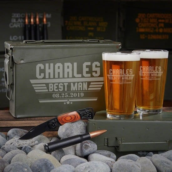 Practical Groomsmen Gifts are Pint Glass Ammo Can Sets