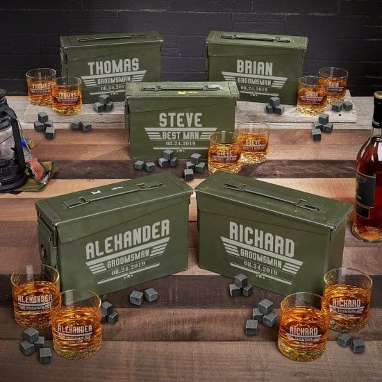 Cool Groomsmen Gifts are Engraved Ammo Cans with Whiskey Set