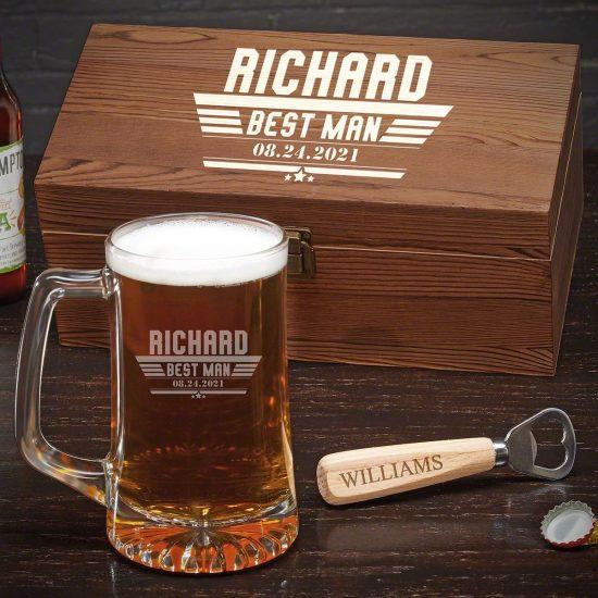 Engraved Beer Mug Gift Set with Bottle Opener