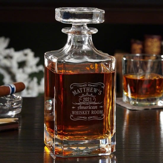 Decanter with Personalized Whiskey Label