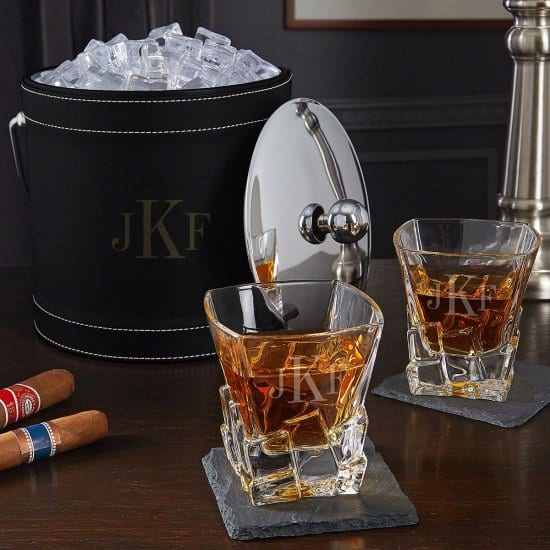 Monogrammed Ice Bucket and Whiskey Glass Set