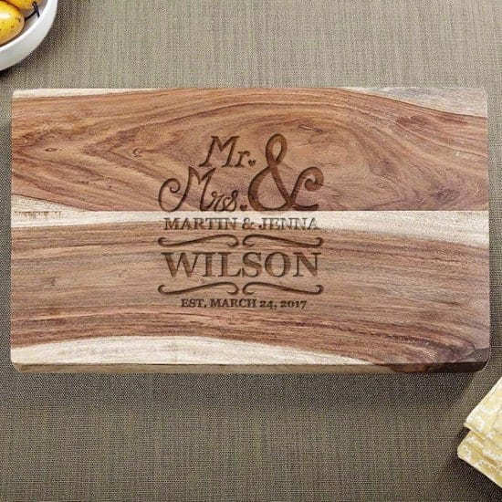 Perfect Personalized Cutting Board Made for Wedding Gifts