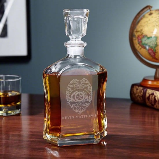 personalized whiskey decanter promotion gift for police officers