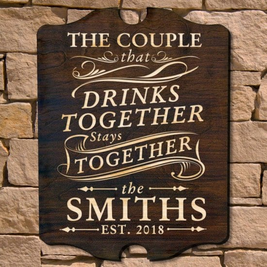 Celebrate Your Shared Love of Spirits With a Custom Anniversary Sign