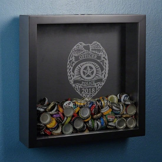 Bottle Cap Shadow Box for the Cop Who Loves Beer