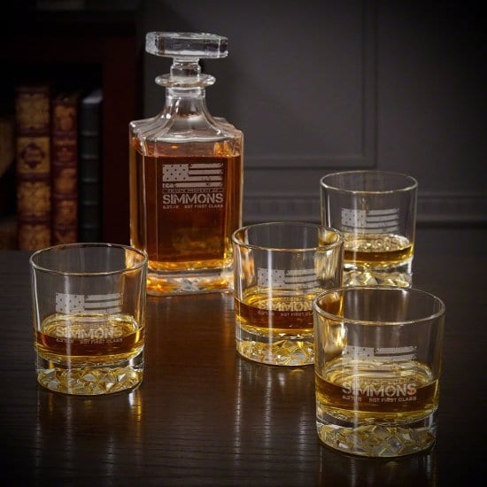 American Heroes Personalized Decanter Set for Retirement Gift
