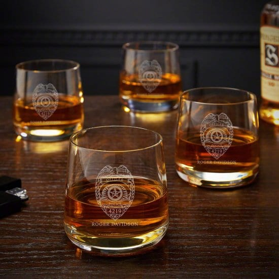 Personalized Rocks Glasses for the Retired Police Officers