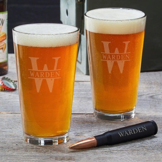 Personalized Pint Glasses and Bullet Bottle Opener