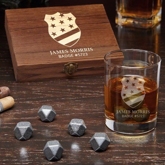 Police Officer Gift Set with Whiskey Stones and Rocks Glass