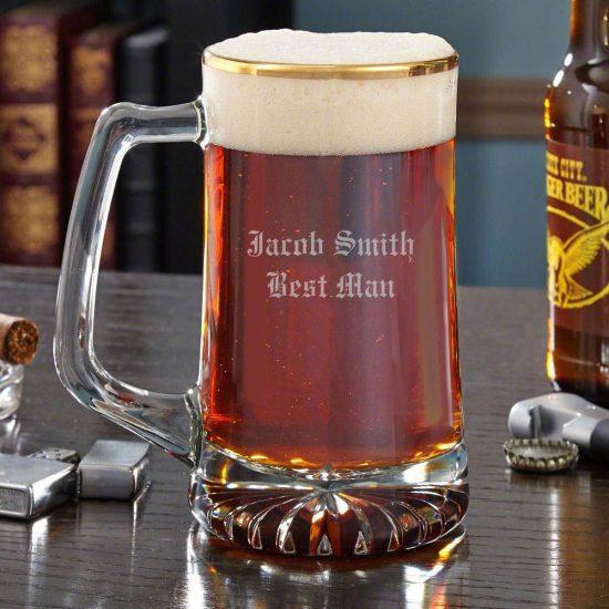 Gold Rimmed Beer Mug